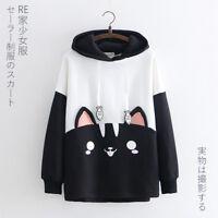 Japanese Styles Cartoon Cat Printed Hoodie Long Sleeve Sweet Lolita Tops