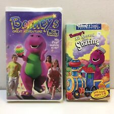 Lot of 2 Barney‼ VHS Video Tapes • All Aboard Sharing/Great Adventure the Movie