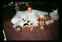 Baby Girl with Toys & Ruston Teddy Bear in mid 1950's, Kodachrome Slide aa 7-9b