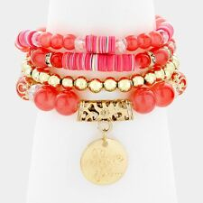 4 piece coral love coin charm bead stretch bracelet cuff bangle