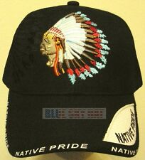 AMERICAN INDIAN NATIVE PRIDE CHIEF HEADDRESS WARBONNET FEATHERS TRIBE CAP HAT OS