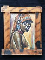 African Girl Portrait Original Painting Aborigine Rustic Frame Signed Wall Art