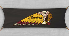 Indian Motorcycle Banner Flag Garage Black (18x58 in)