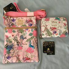 Loungefly Disney Sleeping Beauty Floral Fairies Passport Bag & Zip Wallet NWT