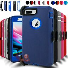 For iPhone 6 7 8 Plus Shockproof Defender Case w/ Belt Clip + Screen Protector