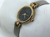 Vintage Timex Ladies Watch Silver Tone Mesh Metal Band Gold Tone Case Analog