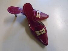 Tod's Pink Leather Shoe Women's Made in Italy Heel 7 M Off White Buckle Pointed