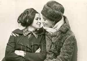 1970s Two Soviet Pretty Young Woman Kiss Hug Close Fashion Russian vtg photo
