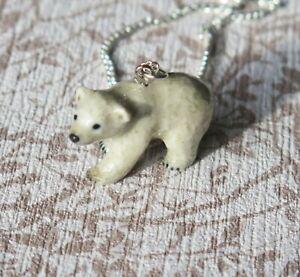 Polar Bear Cub Porcelain Pendant Necklace Lucky Spiritual Animal Jewellery