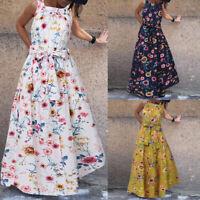 ZANZEA Women Sleeveless Floral Cocktail Party Dress Summer Beach Long Maxi Dress