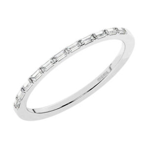 Slim Fit Antoine Baguette Cut Diamanten Halb Eternity Ring in Platin