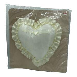 Vintage New Ivory Heart Shaped Satin Ring Bearer Pillow, Wedding Decor