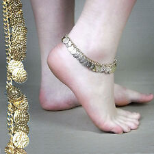 Gold Coloured Metal Bollywood Style Dangley Coin Anklet Indian Dress Up Bling