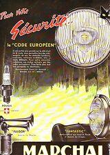 PUBLICITE ADVERTISING 034 1958 MARCHAL bougie antibrouillard Klaxon