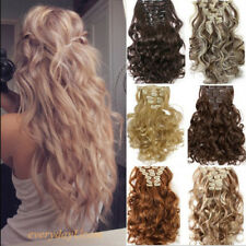 Real as human hair Long 8PCS Clip in Hair Extensions Full Head Wavy Straight@@?