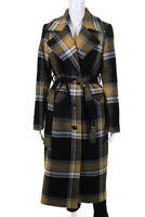 Heartmade Womens Checks Plaid Belted Rarmi Coat Black Grey Wool Size EUR 34
