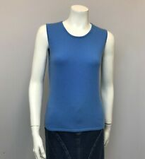 LORD & TAYLOR 2 PLY CASHMERE TOP SLEEVELESS BLUE SIZE MEDIUM M