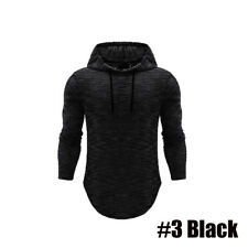 US STOCK Men Slim Fit Long Sleeve Shirts Hooded Muscle Tops Hoodie Casual Basic