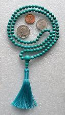 Teal Turquoise Handmade Japa Mala Meditation Beads Yoga Necklace - Energized