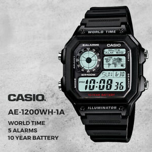 GENUINE Casio Digital Watch AE-1200WH-1AV Men's Sport Illuminator NEW FREE SHIP