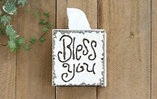 Creative Co-Op White Wood and Metal Bless You Tissue Box Cover $24 SHIPS FREE