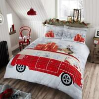 Santa Campervan Christmas XMAS Santa Snow Duvet Cover/Quilt Bedding Set Pillow