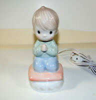 "Precious Moments Night Light Vintage 6.5"" Praying Boy 1990 Lamp Bedside Nursery"