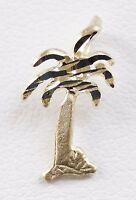 14k Yellow Gold Diamond Cut Palm Tree Charm Pendant