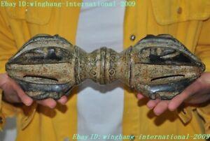 """11""""Tibetan Buddhism jade stone carved Vajra Dorje Phurpa Exorcism Talisman Faqi"""