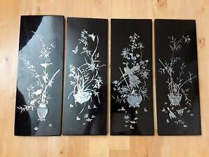 4 Stück asiatische Bilder Lackbilder mit Perlmutt Einlage - Vögel, Blumen