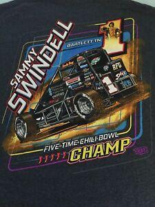 SAMMY SWINDELL 5 TIME CHILI BOWL MIDGET CHAMP T-SHIRT MEDIUM CHARCOAL