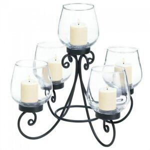Black Iron Centerpiece 5 Candle Holder Candelabra Wedding Decor Scrolling Design