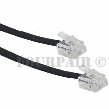 7ft Telephone Line Cord Cable 6P6C RJ12 RJ11 DSL Modem Fax Phone to Wall - Black