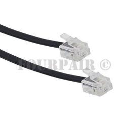 7ft Telephone Line Cord Cable 6P6C RJ12 RJ11 DSL Modem Fax Phone to Wall - Black