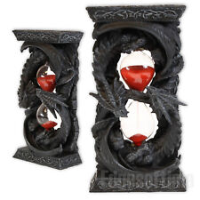 TIME GUARDIAN DRAGONS SAND TIMER HOUR GLASS CLOCK GOTHIC FANTASY FIGURINE 18CM