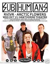 SUBHUMANS / RVIVR / ARCTIC FLOWERS 2015 PORTLAND CONCERT TOUR POSTER- Punk Music