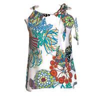 Banana Republic Trina Turk women's blouse silk tropical print halter tank top 2