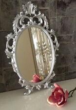 Espejo de pared plata oval barroco 43x27 maquillaje bad-friseurspiegel ANTIGUO
