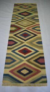 Handmade Vintage Kilim Rug Multi Color Retro 2'5''x8' Feet Large Runner DN-1850