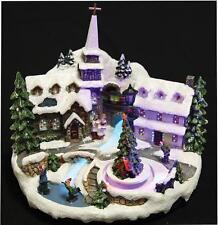Natale Musical festitve Village chiesa Scena Fiume Fibre Ottiche Decorazione