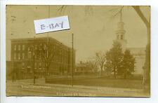 Milton MA Mass RPPC real photo Richmond Street view, school, church, 1911