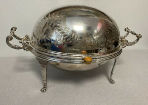 Antique English engraved silver plate roll top chafing dish excellent condition