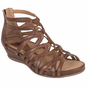 Women's Earth Brand Juno Wedge Gladiator Sandal Almond Leather US Size 10 MEDIUM