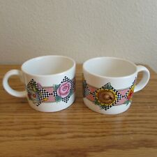 Mary Engelbreit Garden Time 2 coffee cups Flowers gingham tea 1994