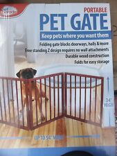New listing Pet Parade Folding Pet Gate, Brown, Extra Wide New