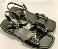 ECCO Womens Size US 11 M EUR 42 Black Wedge Slingback Open-Toe Sandals