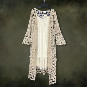 Plus Size Mocha Vintage Boho Festival 3/4 Sleeve Crochet Kimono Duster Cardigan