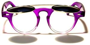 Round Flip Up Sunglasses Mens Womens Retro Steampunk Lennon Hippie Style 400UV