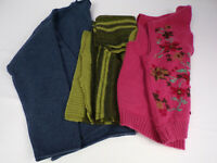FELTED WOOL Large Pieces From Vintage Wool Sweaters Fun Blue, Green, Pink