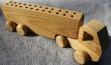 "Childs Kids 24 Pen Pencil Crayon Holder All Wood Semi Truck & Trailer Rolls 13"""